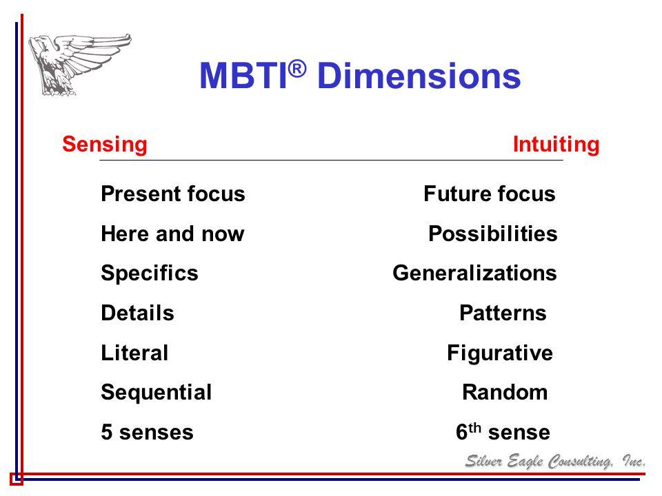MBTI® Dimensions Sensing Intuiting Present focus Future focus