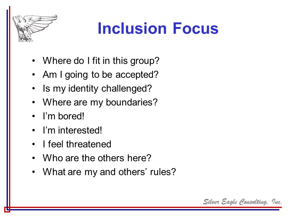 Inclusion Focus Where do I fit in this group