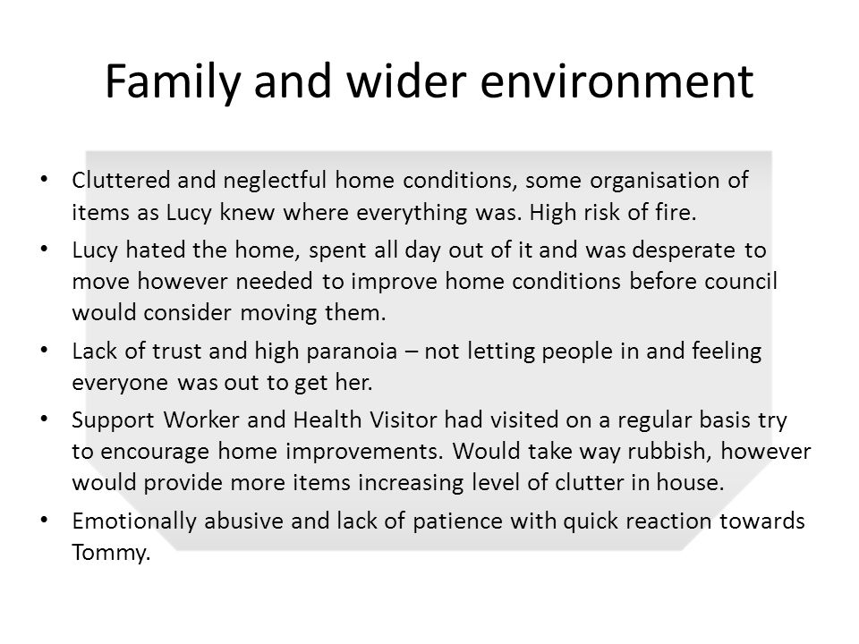 Family and wider environment