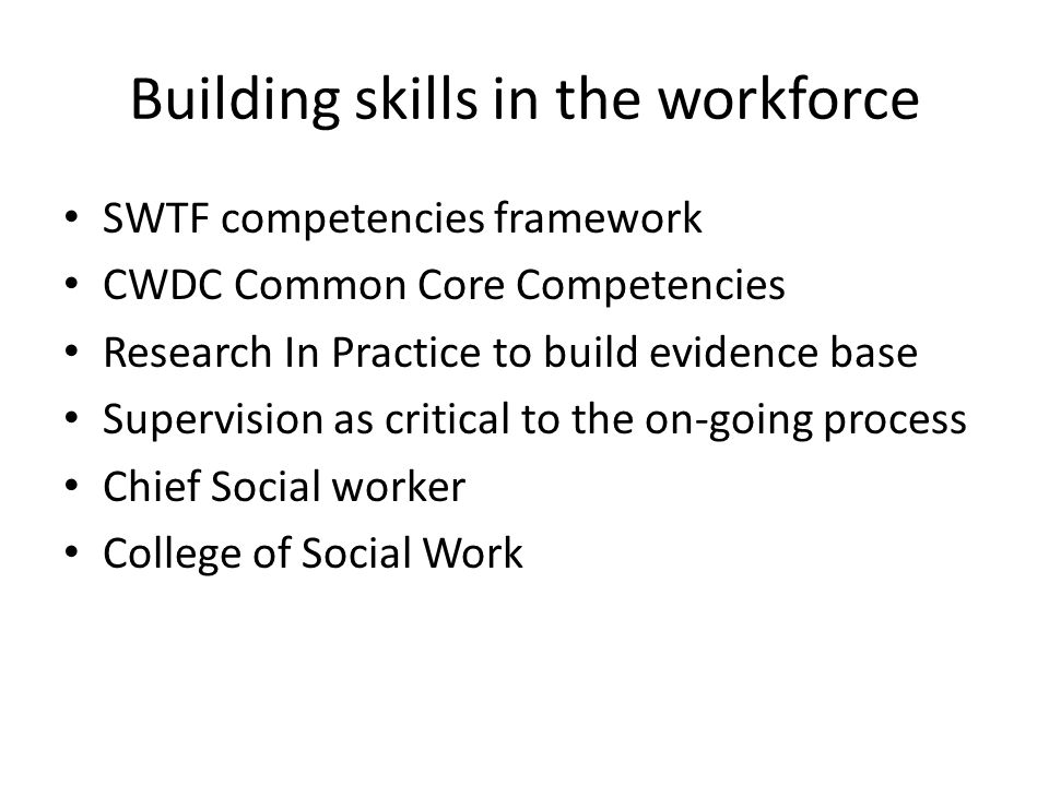 Building skills in the workforce