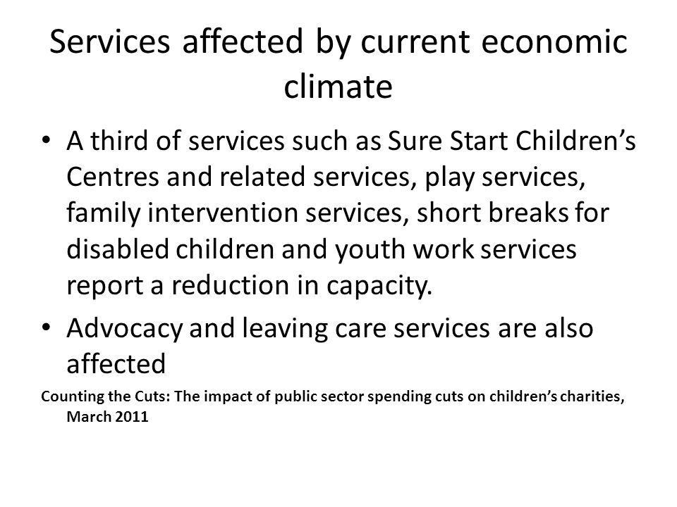 Services affected by current economic climate