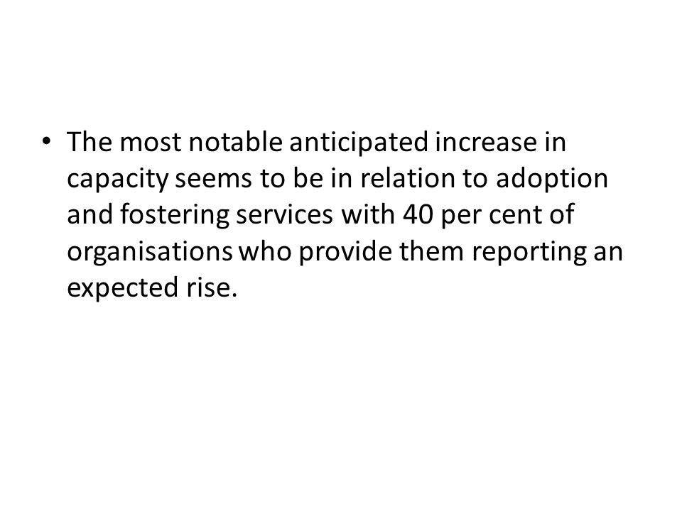 The most notable anticipated increase in capacity seems to be in relation to adoption and fostering services with 40 per cent of organisations who provide them reporting an expected rise.