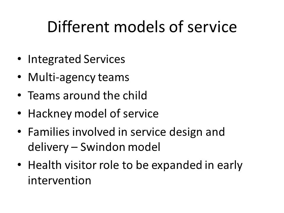 Different models of service