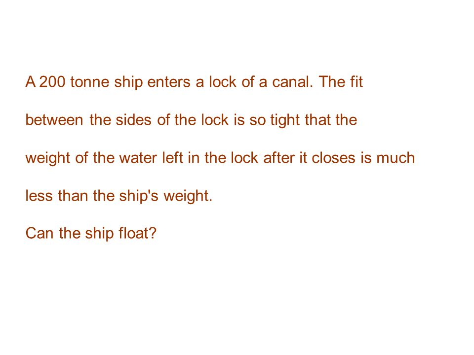 A 200 tonne ship enters a lock of a canal. The fit