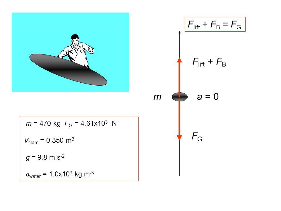 Flift + FB m a = 0 FG Flift + FB = FG m = 470 kg FG = 4.61x103 N
