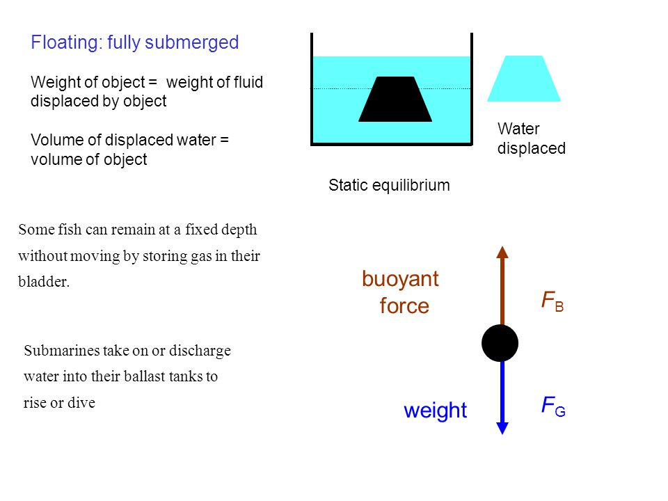 buoyant force FB FG weight Floating: fully submerged