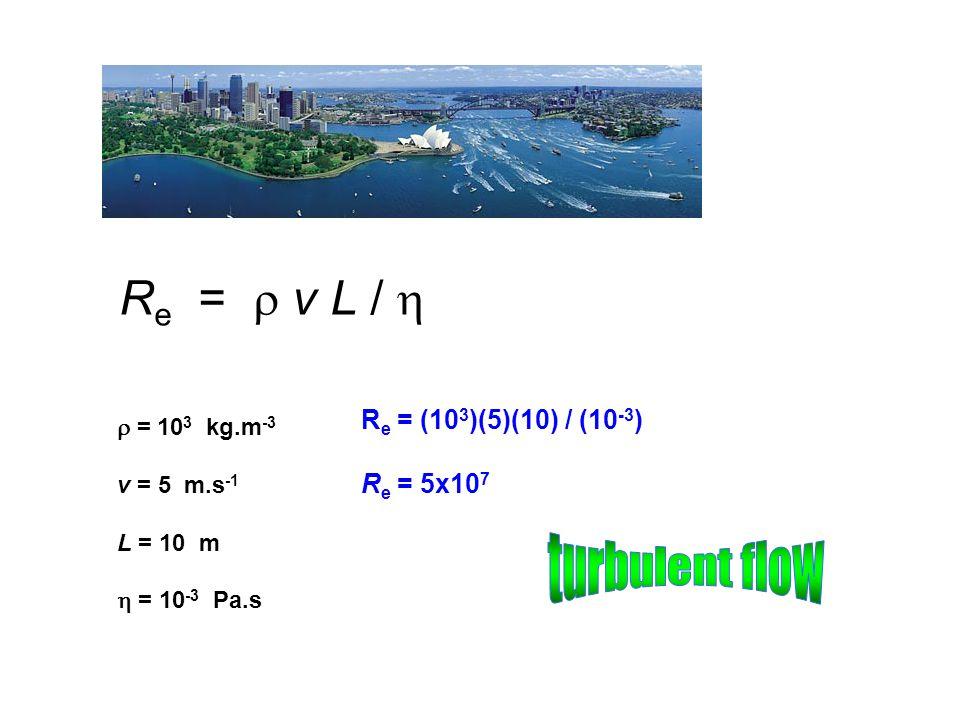 Re =  v L /  turbulent flow Re = (103)(5)(10) / (10-3) Re = 5x107