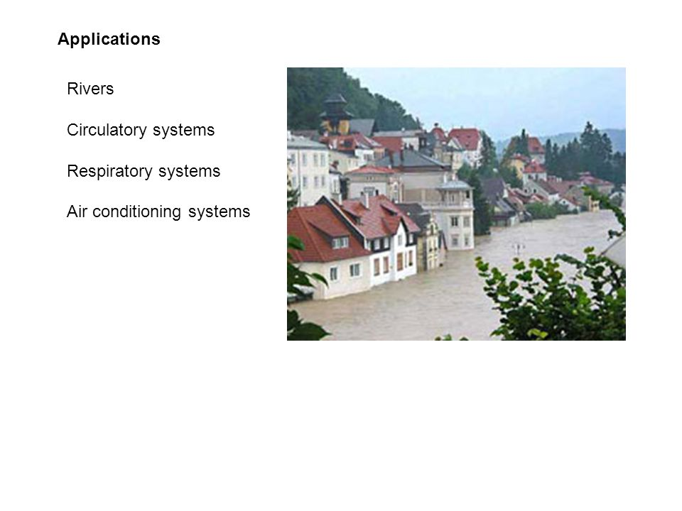 Applications Rivers Circulatory systems Respiratory systems Air conditioning systems