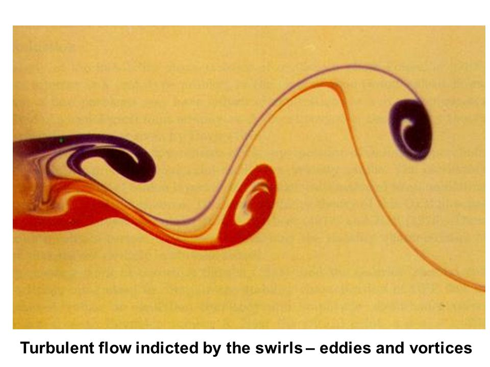 Turbulent flow indicted by the swirls – eddies and vortices