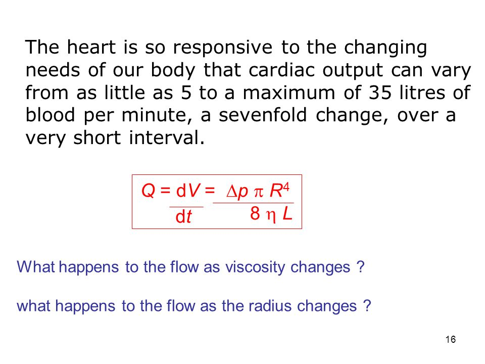 The heart is so responsive to the changing needs of our body that cardiac output can vary from as little as 5 to a maximum of 35 litres of blood per minute, a sevenfold change, over a very short interval.