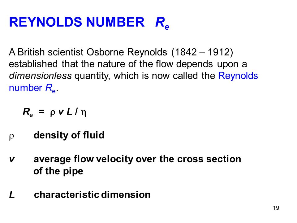 REYNOLDS NUMBER Re