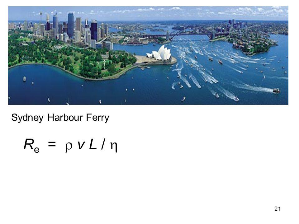 Sydney Harbour Ferry Re =  v L / 