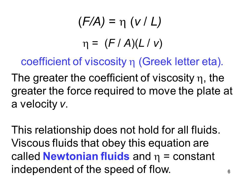 (F/A) =  (v / L)  = (F / A)(L / v)