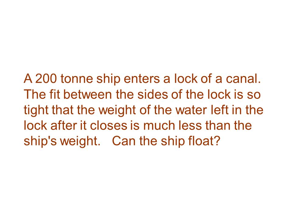 A 200 tonne ship enters a lock of a canal