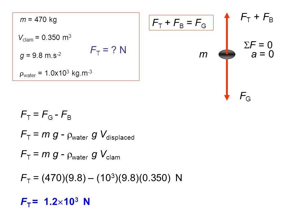 FT + FB m a = 0 FG FT + FB = FG F = 0 FT = N FT = FG - FB