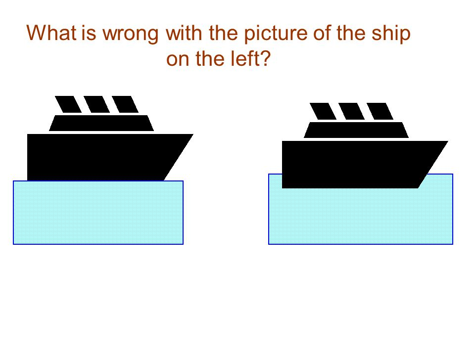What is wrong with the picture of the ship on the left