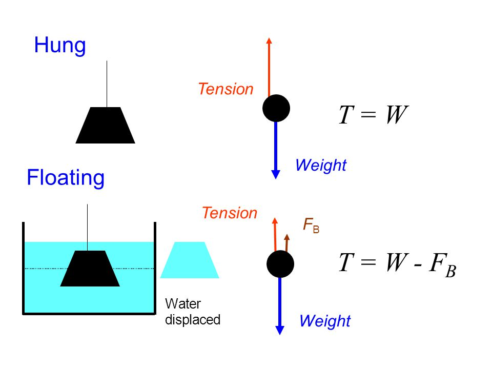 T = W T = W - FB Hung Floating Tension Weight Tension FB Weight W a t