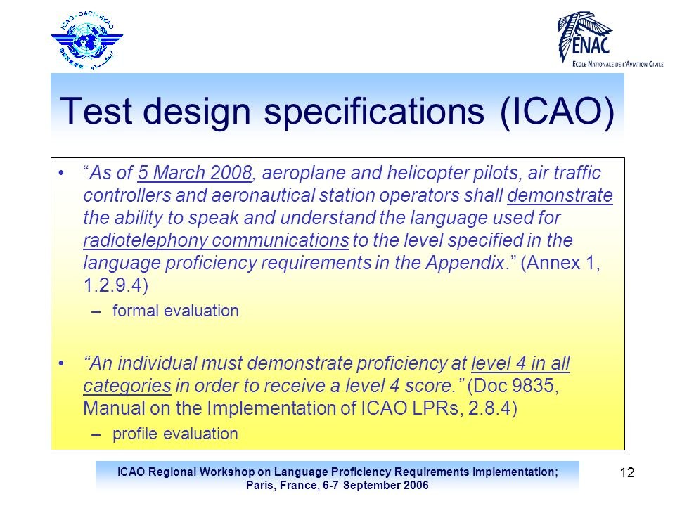 Test design specifications (ICAO)