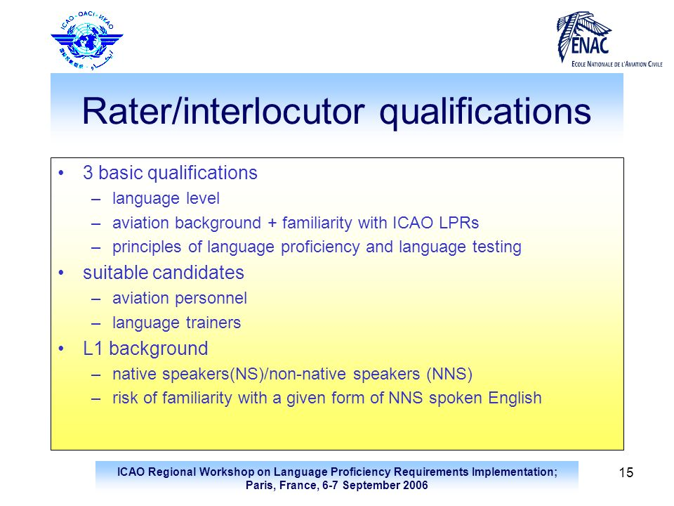 Rater/interlocutor qualifications