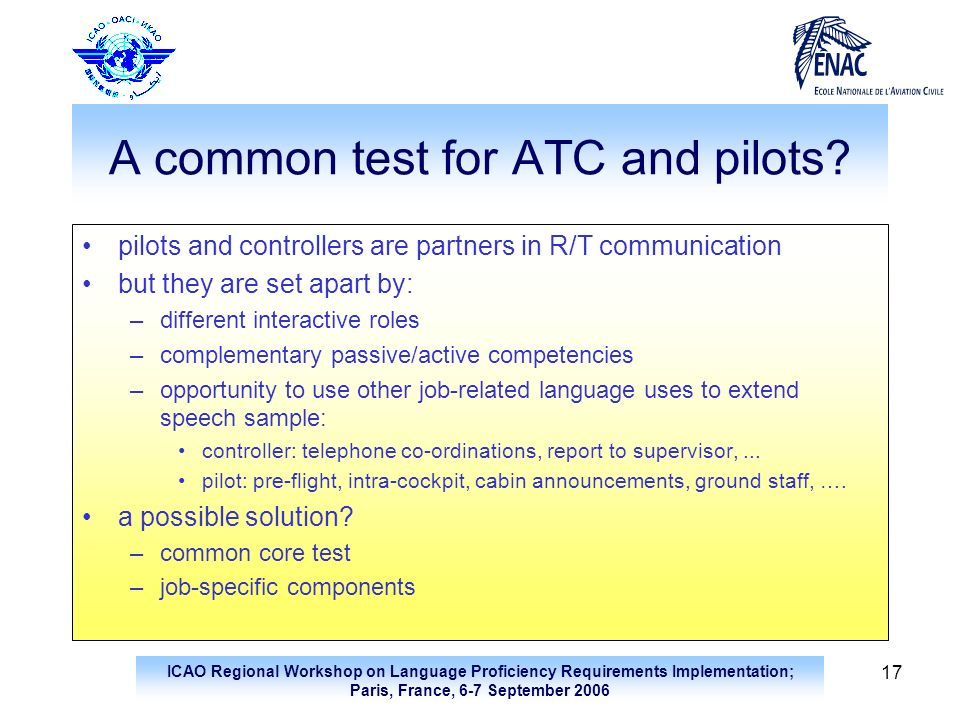 A common test for ATC and pilots