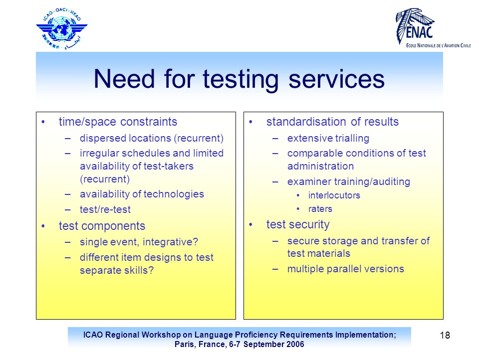 Need for testing services