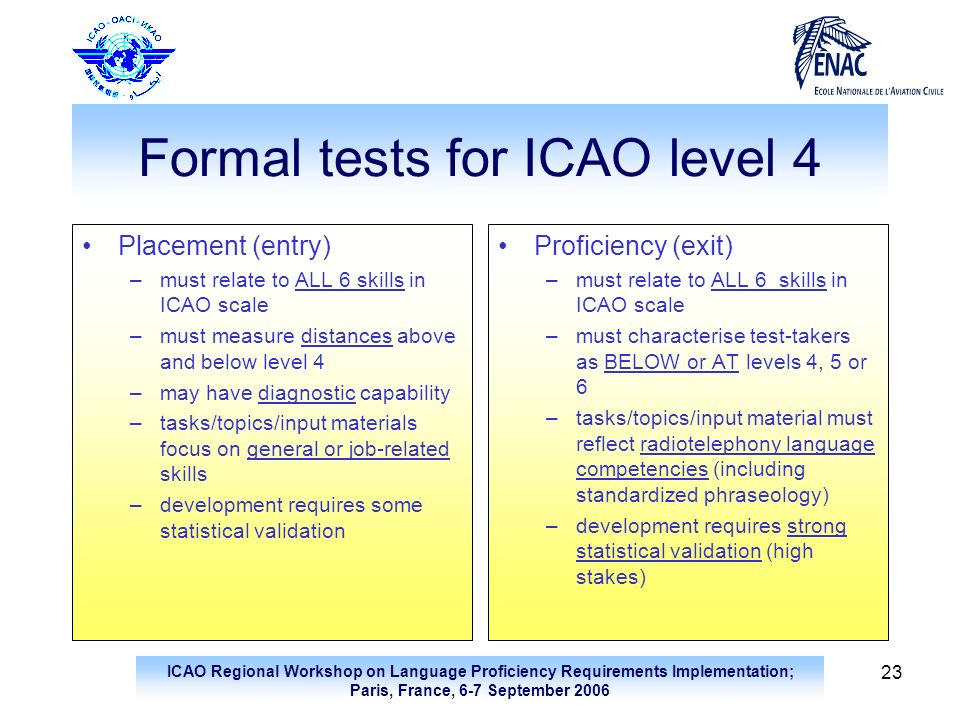 Formal tests for ICAO level 4
