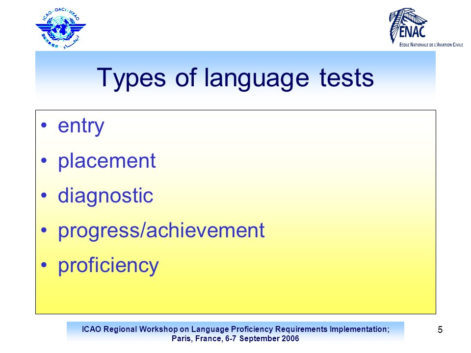 Types of language tests