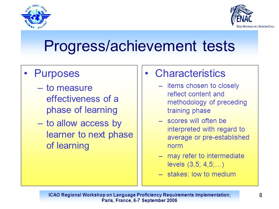 Progress/achievement tests