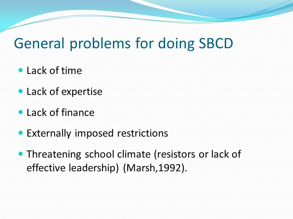 General problems for doing SBCD