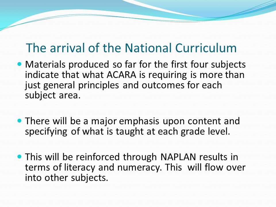 The arrival of the National Curriculum