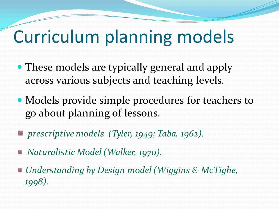 Curriculum planning models