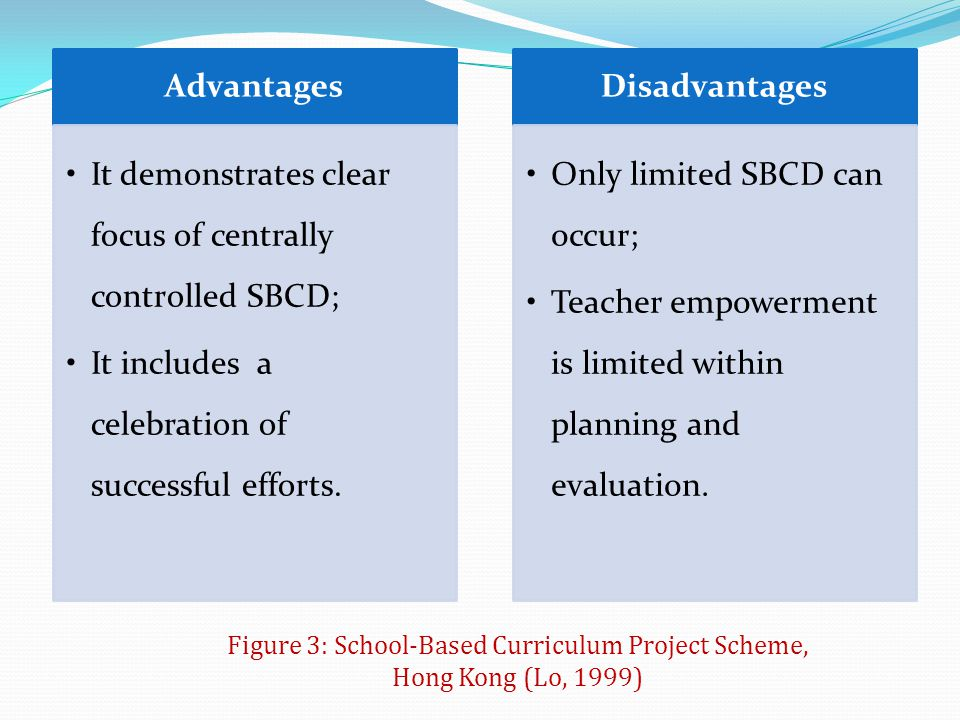Figure 3: School-Based Curriculum Project Scheme, Hong Kong (Lo, 1999)