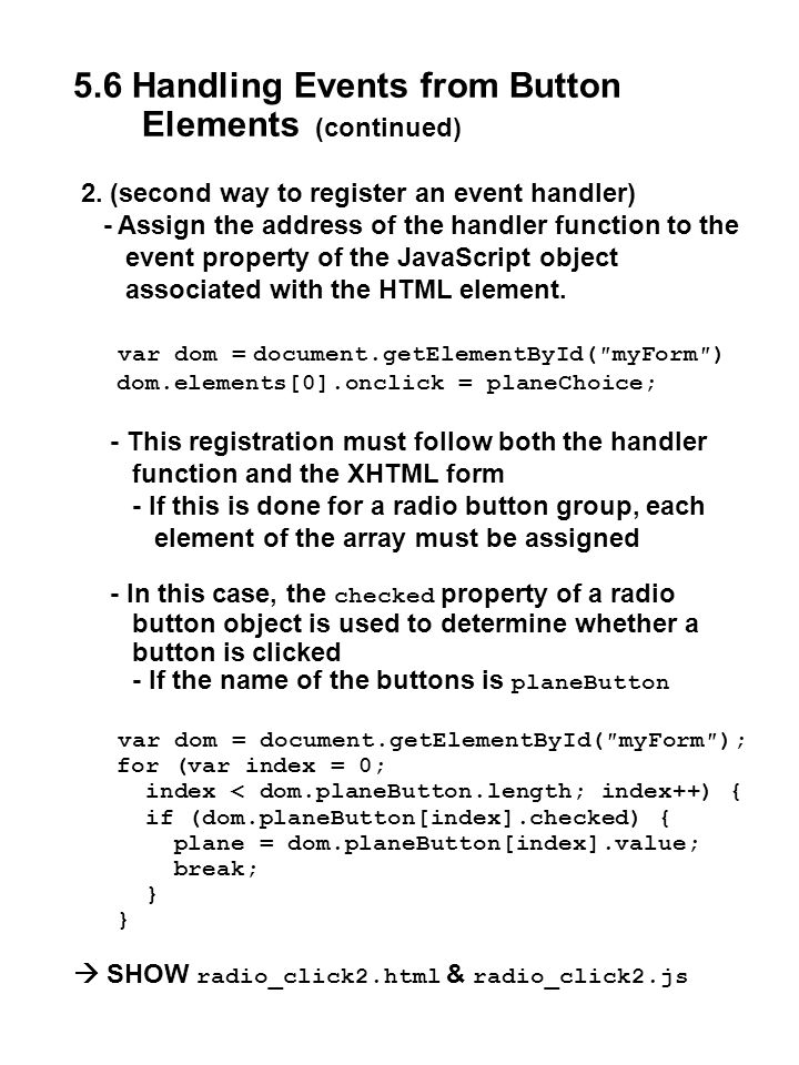 5.6 Handling Events from Button Elements (continued)