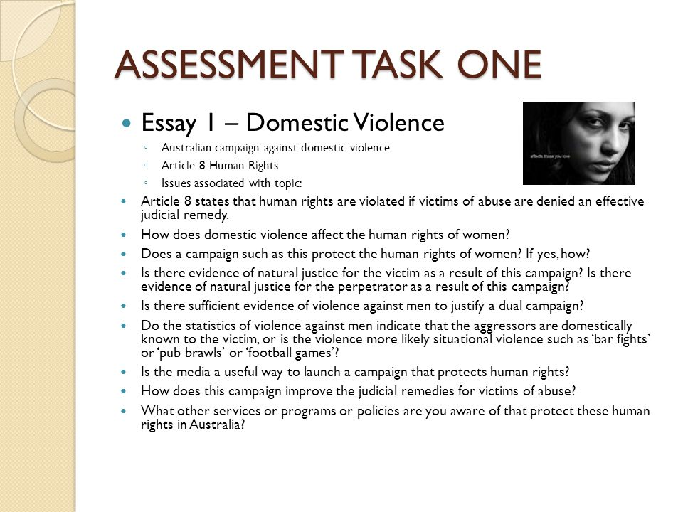 ASSESSMENT TASK ONE Essay 1 – Domestic Violence