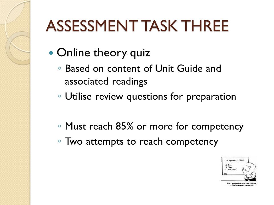 ASSESSMENT TASK THREE Online theory quiz