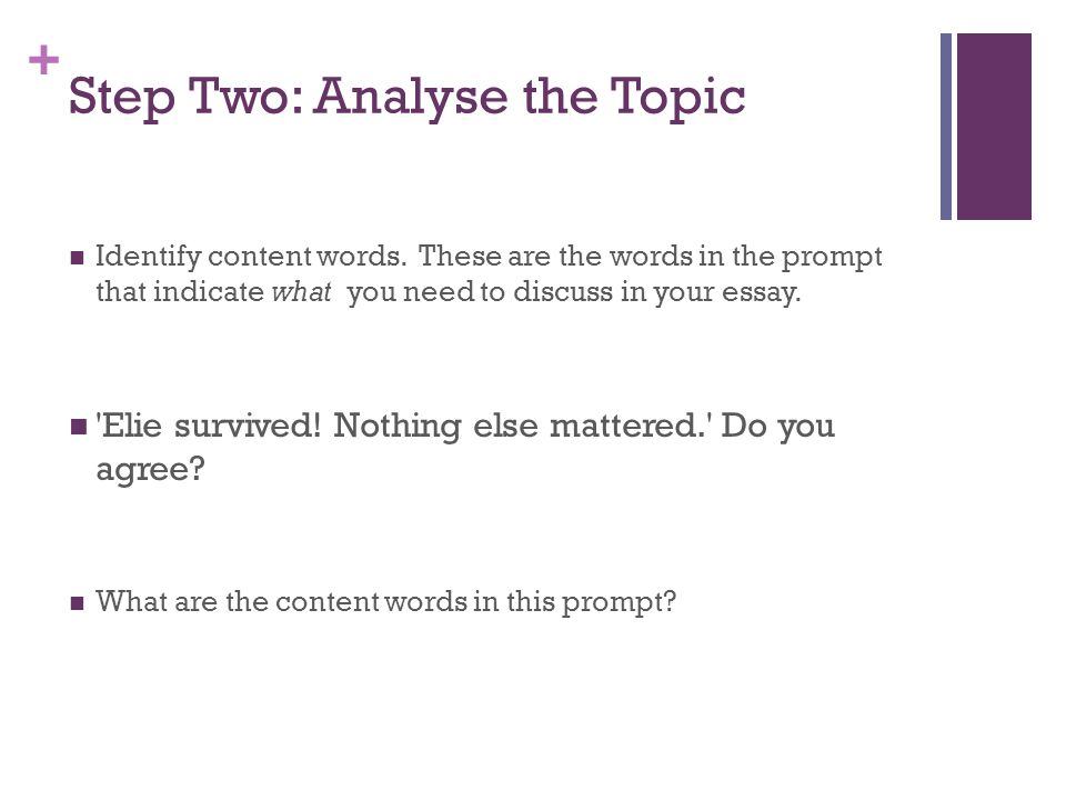 Step Two: Analyse the Topic