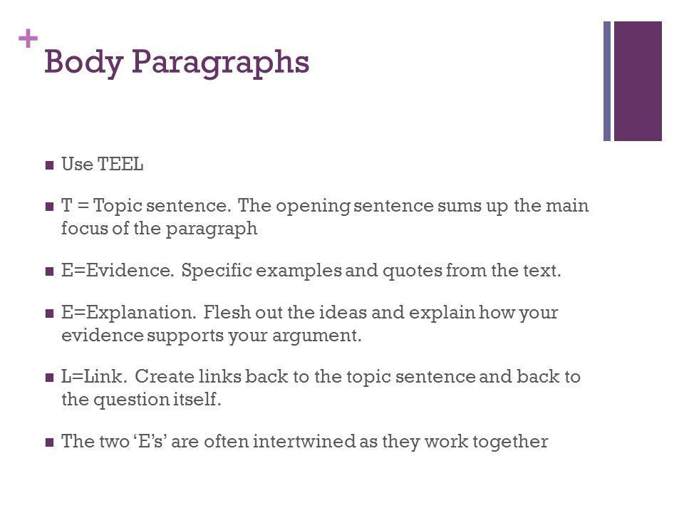 Body Paragraphs Use TEEL