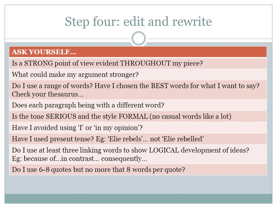 Step four: edit and rewrite