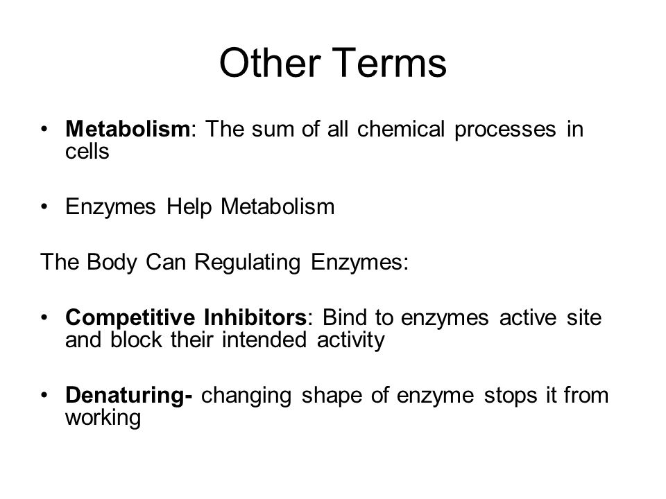 Other Terms Metabolism: The sum of all chemical processes in cells