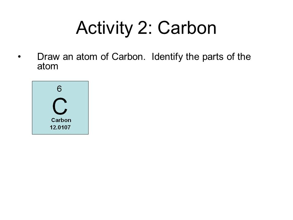 Activity 2: Carbon Draw an atom of Carbon. Identify the parts of the atom