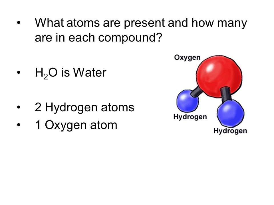 What atoms are present and how many are in each compound