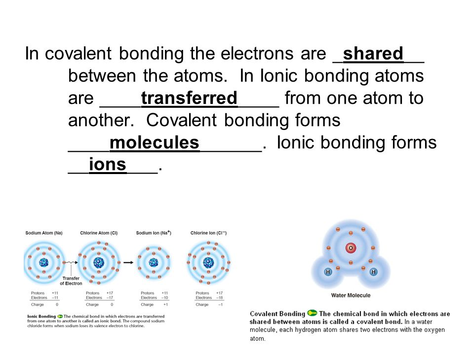 In covalent bonding the electrons are _shared__ between the atoms
