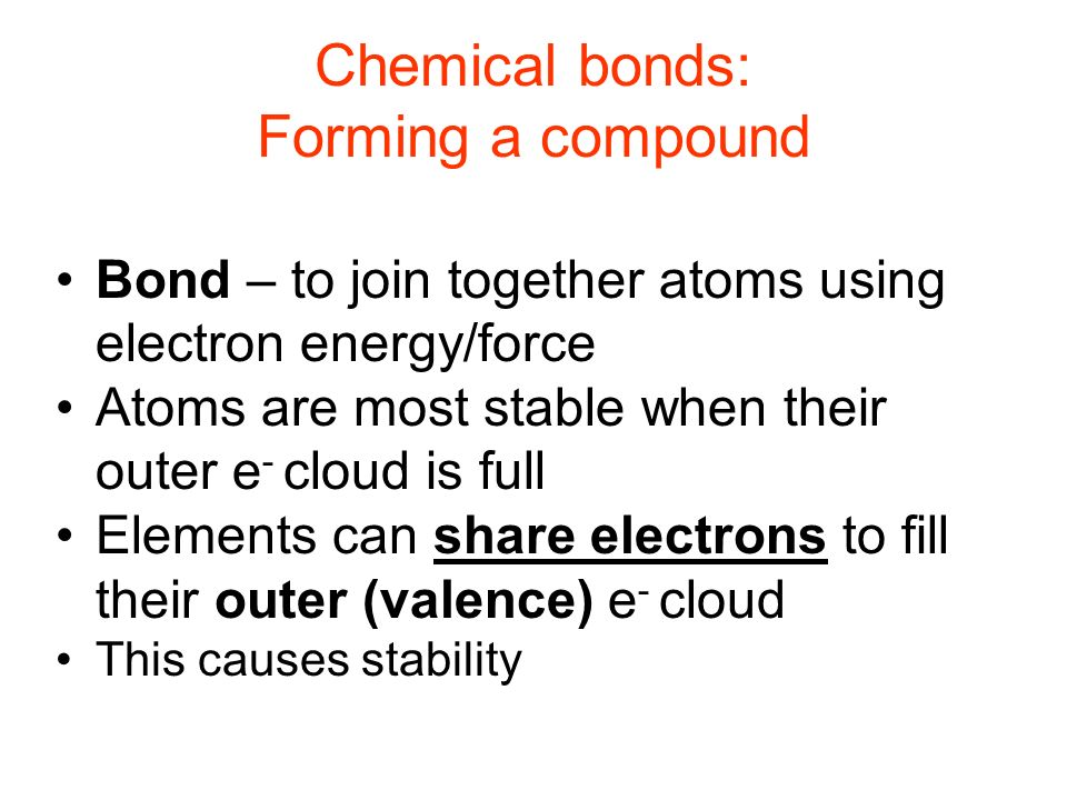Chemical bonds: Forming a compound