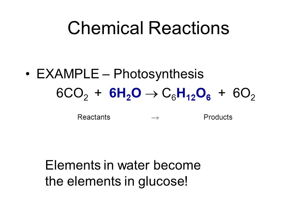 Chemical Reactions EXAMPLE – Photosynthesis