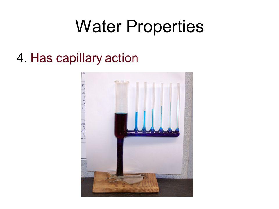 Water Properties 4. Has capillary action