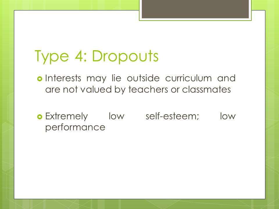 Type 4: Dropouts Interests may lie outside curriculum and are not valued by teachers or classmates.