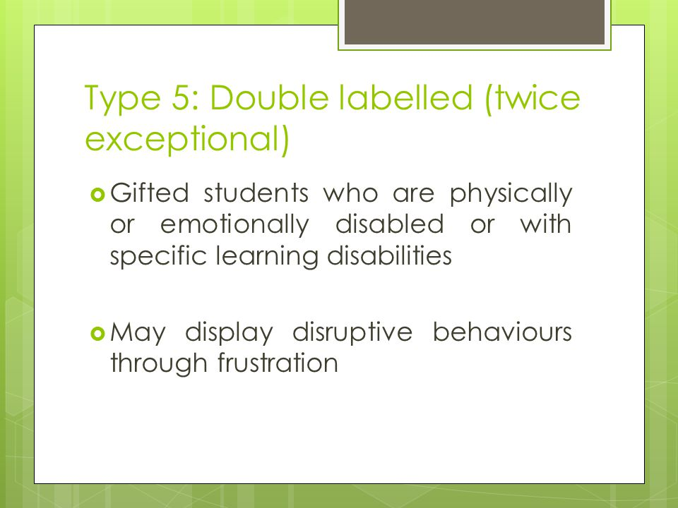 Type 5: Double labelled (twice exceptional)