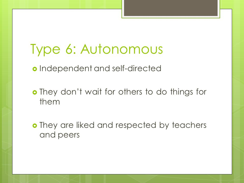 Type 6: Autonomous Independent and self-directed