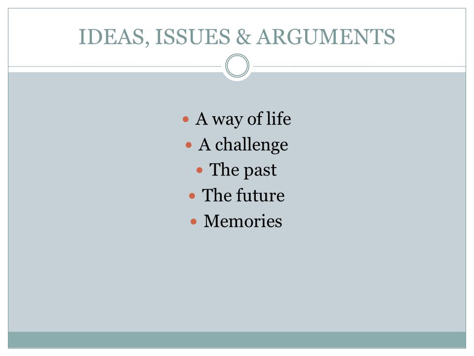 IDEAS, ISSUES & ARGUMENTS