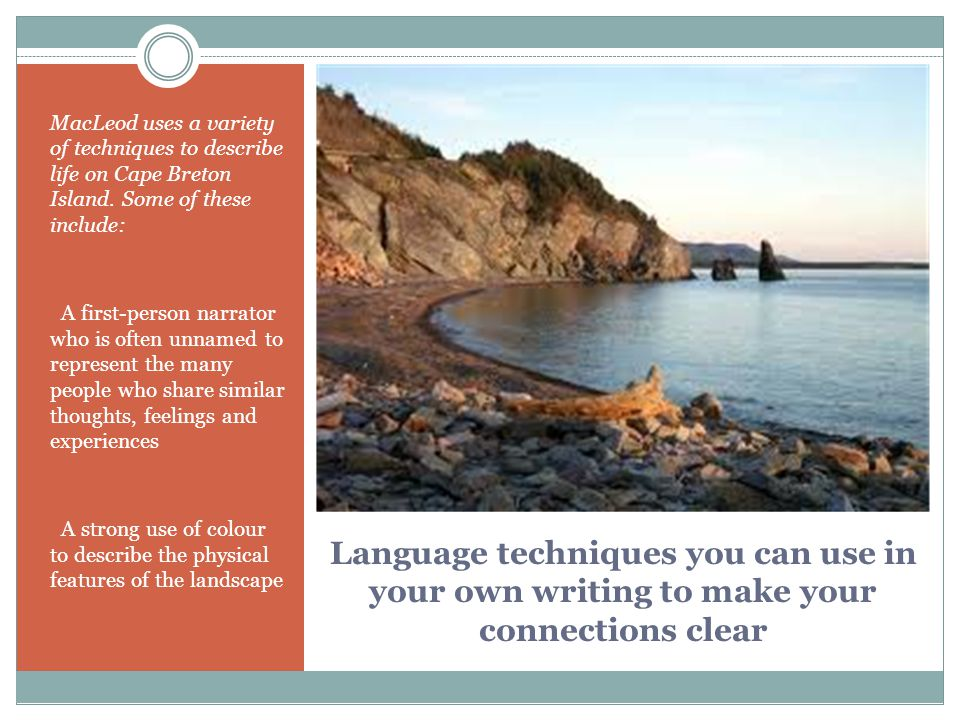 MacLeod uses a variety of techniques to describe life on Cape Breton Island. Some of these include: